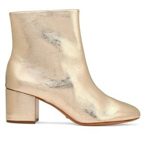 Shoes - Schutz Lupe Metallic Cracked-leather Ankle Boots